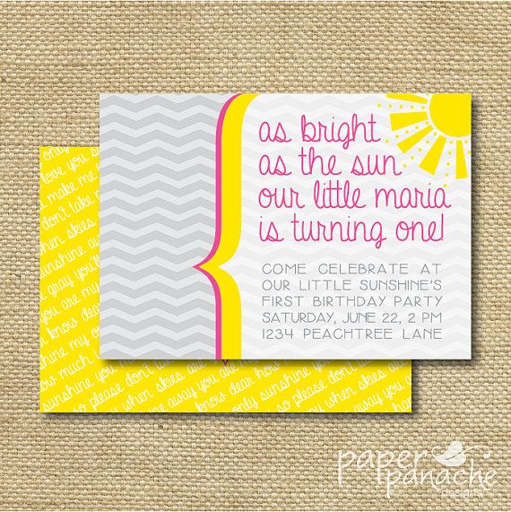 You Are My Sunshine First Birthday Party by PaperPanacheDesigns, $12.00