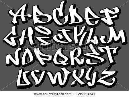 Graffiti font alphabet letters. Hip hop type grafitti design by Banana Republic images, via Shutterstock