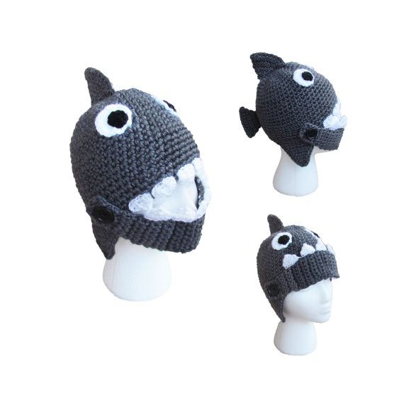 Shark fish yarn crochet winter hat made to order by AkrocheTatuk