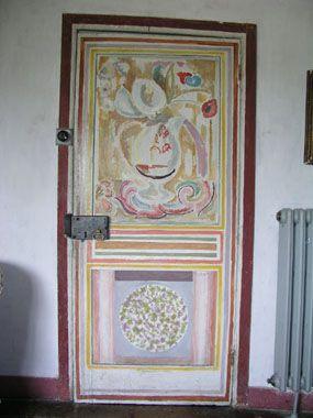 Accession number: CHA/DEC/14a  Door  Door, 1918, wood, painted by Vanessa Bell.  maker: Vanessa Bell
