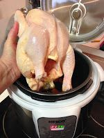 Tracy Cooks in Austin: Whole Chicken in the pressure cooker, the new Nesco Digital Pressure Cooker, a slight redo. One chicken, one pressure cooker equals loads of cooked meat and 8 cups of the absolutely delicious stock. In my world, that's under $6.00 and it makes at least 4 meals plus extra stock.