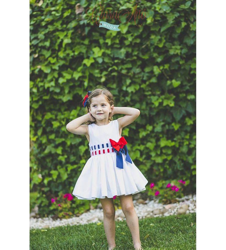 vestido niña de pique panalblanco y lazos en tonos marineros