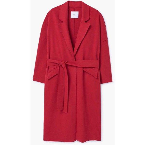 Belt Wool Coat (3.550 RUB) ❤ liked on Polyvore featuring outerwear, coats, red wool coat, red coat, long sleeve coat, woolen coat and mango coats