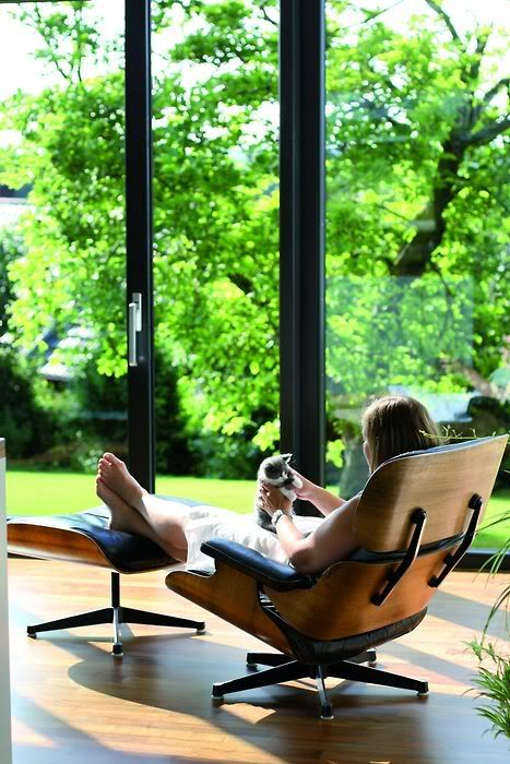 Relax in an Eames chair with magnificent windows, and  nature. Perfect.