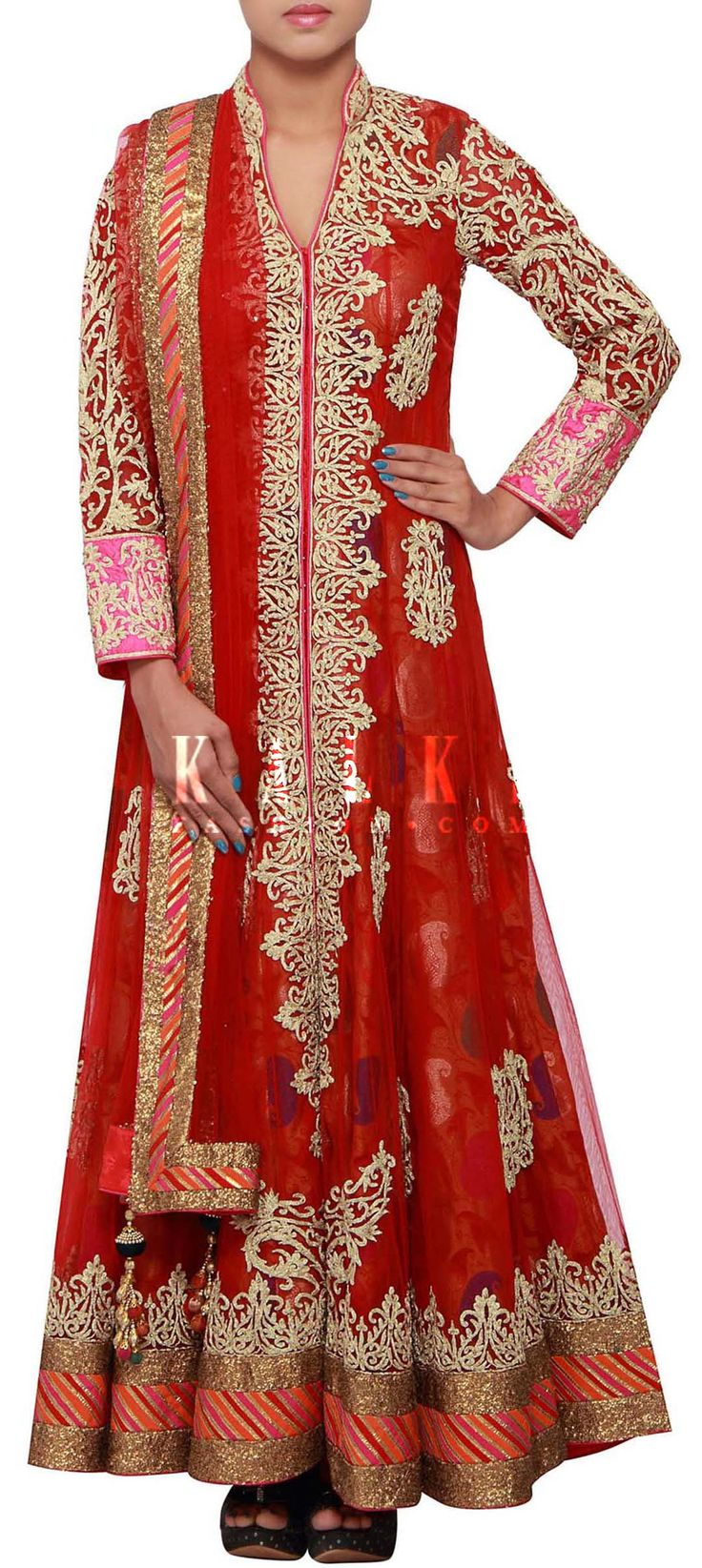 Buy Online from the link below. We ship worldwide (Free Shipping over US$100) http://www.kalkifashion.com/red-anarkali-suit-adorn-in-zari-embroidery-only-on-kalki.html