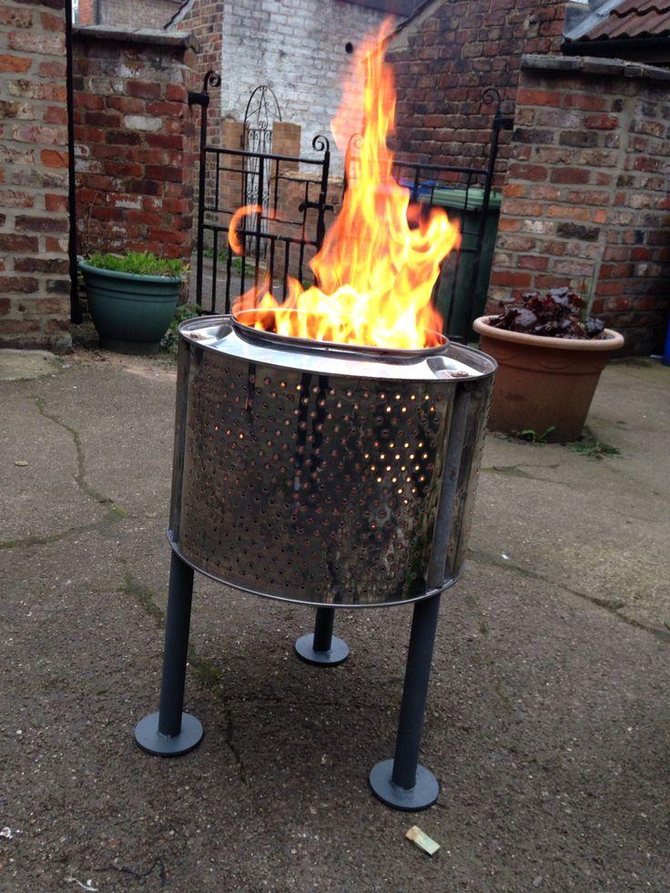 Washing machine drum, into a fire pit