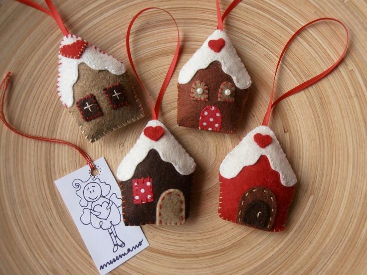 Karácsonyi díszek,házikók 4 db, Meska
