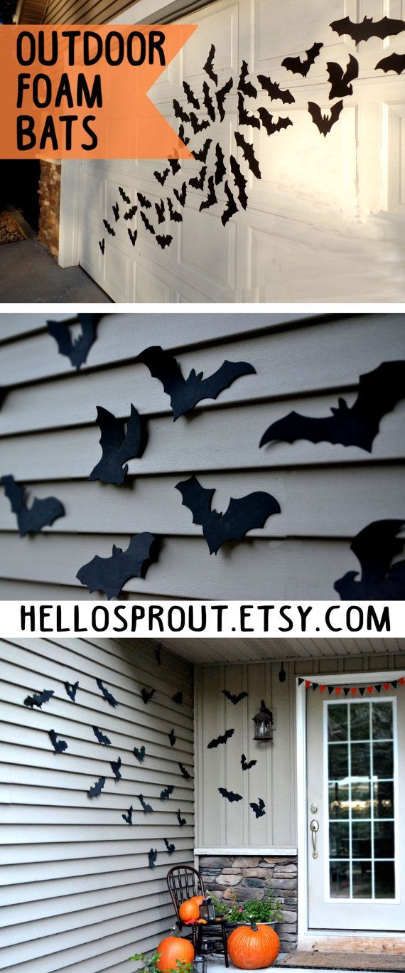 Bat Halloween Decoration- 16 Bats, Reusable Wall Decoration, Waterproof Indoor or Outdoor Halloween, foam bats