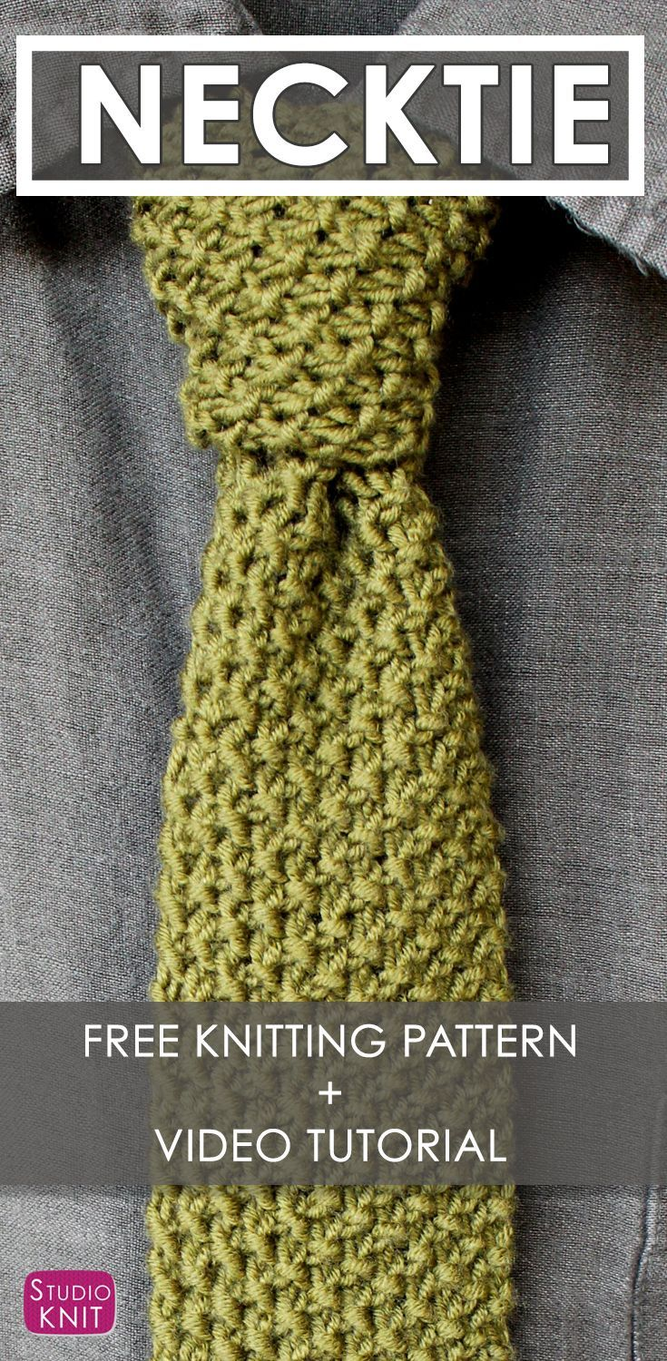 How to Knit a Necktie - Free Knitting Pattern + Video Tutorial by Studio Knit