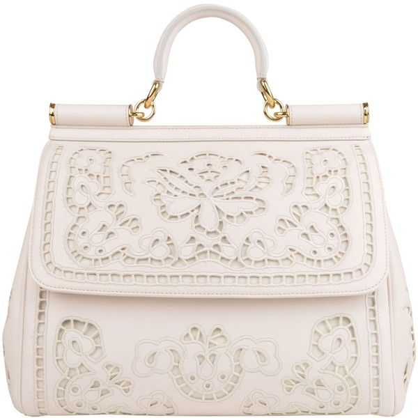 DOLCE AND GABBANA Miss Sicily Embroidered Laser Cut Tote found on Polyvore