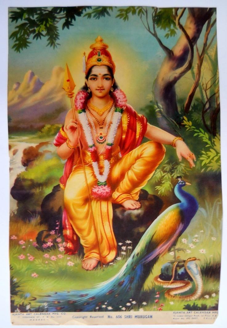 India Vintage Calendar Print Hindu God Shri Murugan with Snake & Peacock#gngp834