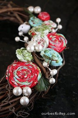 rolled fabric flowers... use on wreaths, hair clips, package decoration, pins, etc.