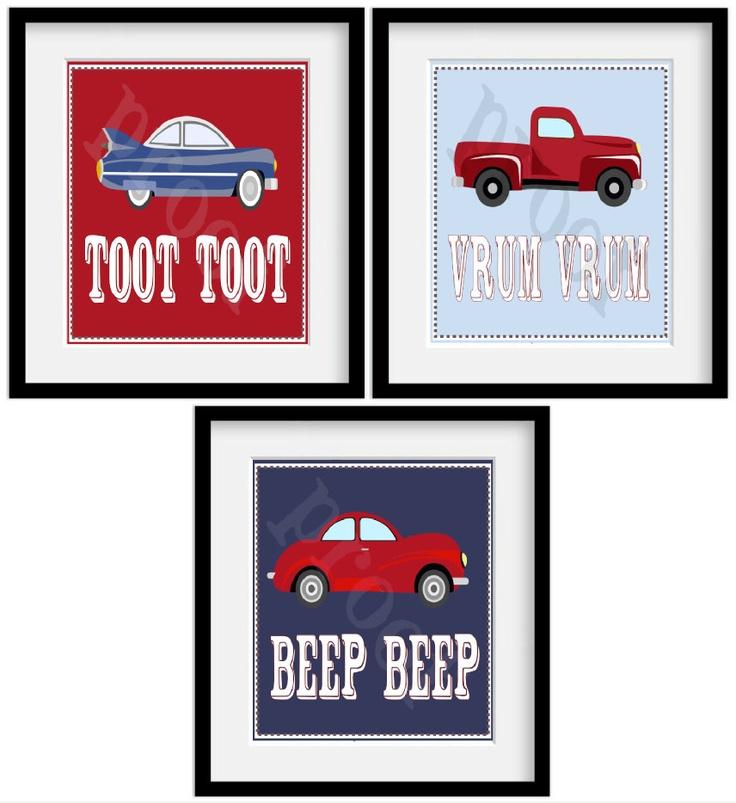 "Car themed room- SERIES 2 Vintage CARS. Pottery Barn Red Blue White Boys Room Theme. Set of 3 11x14"" Art Prints.. $39.95, via Etsy."