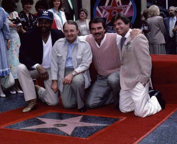 Historic Photograph of Tom Selleck's Walk Of Fame Ceremony (l To R) Roger E Mosley, John Hillerman, Tom Selleck & Larry Manetti