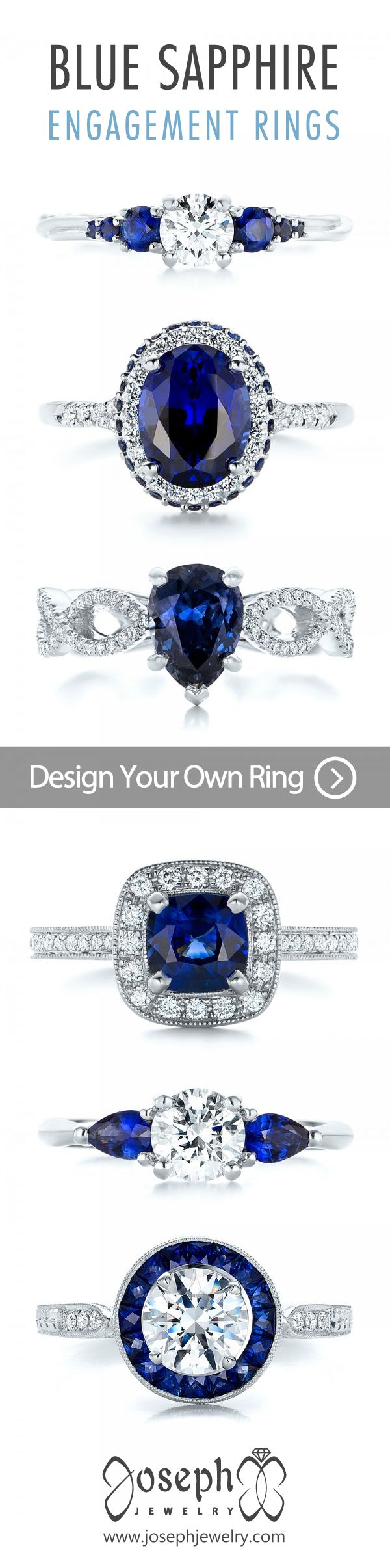 Design Your Own Engagement Ring! Blue Sapphire Is A Classic Alternative  Gemstone Center, And