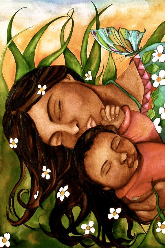 SPRING SALE resting mother and child art by PrintIllustrations