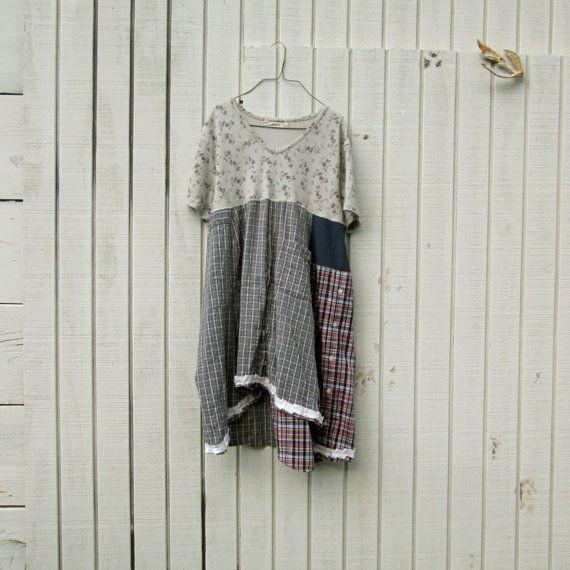 medium - xlarge - Urban Chic Day Dress / Baby Doll / Funky Dress / Eco Dress / Tattered Artsy Dress / Upcycled Clothing by CreoleSha