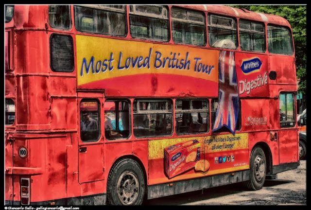 Bus - photographic processing (317) - elaborazione fotografica di una immagine di un autobus a due piani facente parte della carovana del Giro d'Italia ...