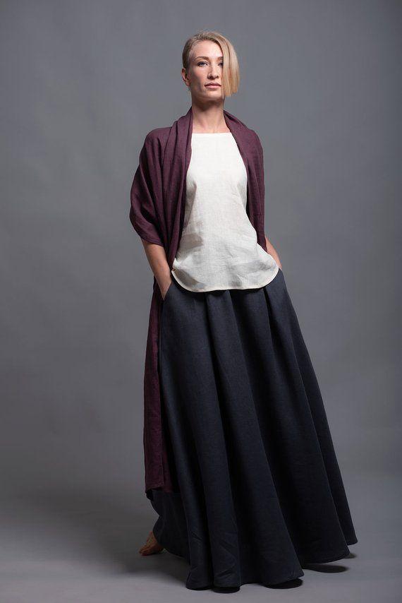b7a532911b Floor Length Linen Skirt INDI