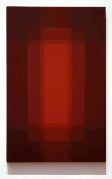 Patsy Krebs, Untitled Maroon/Red, acrylic on panel, 22″ x 14″ 2009