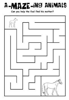 Free Kids Printable Activities: Horse and Foal Maze – Coloring Pages & Word Puzzles - Kaboose.com