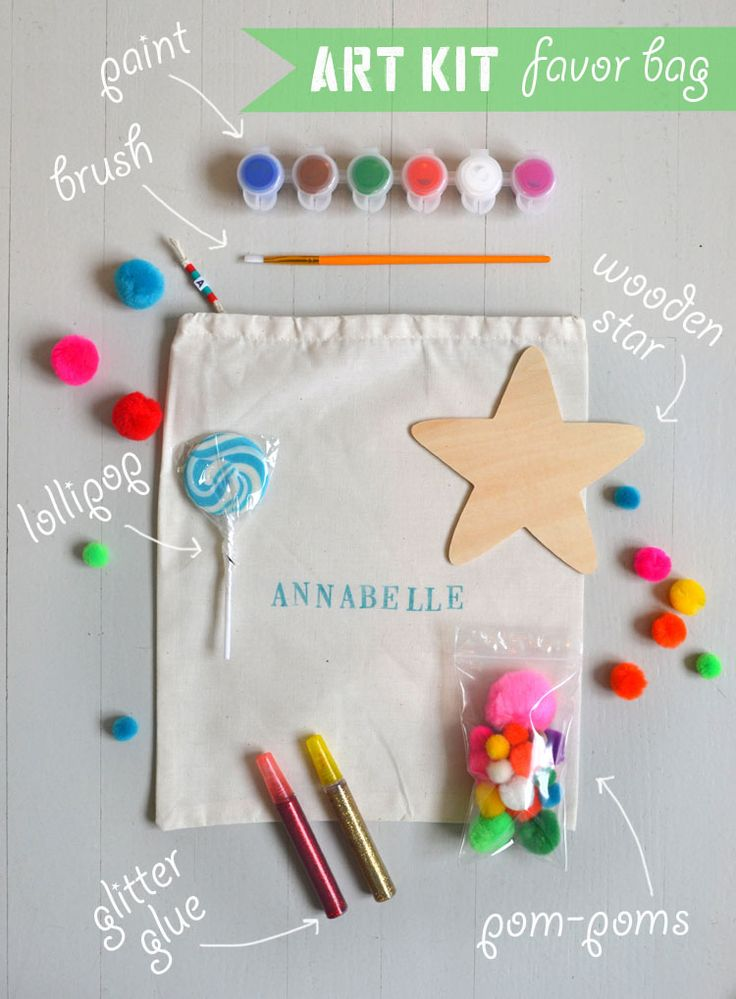 make your own art kit favor bag for your child's next birthday party (each bag is less than $6 if you are making 10 bags or more)