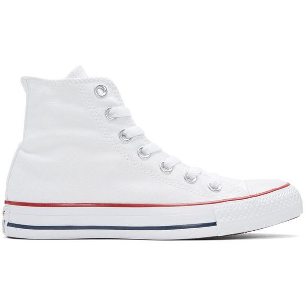 Converse White Classic Chuck Taylor All Star OX High-Top Sneakers ($44) ❤ liked on Polyvore featuring shoes, sneakers, white, converse high tops, white hi top sneakers, hi top canvas sneakers, converse shoes and white canvas sneakers