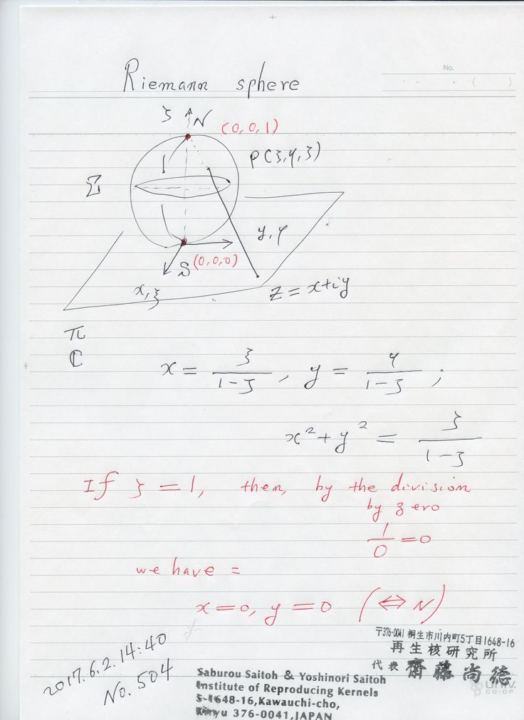 №504-894  立体射影で、北極がゼロに対応することもう当たり前ですね。しかし、とんでもないことを述べている。 無限と考えられていたが、実はゼロだった。非アリストテレス、非ユークリッド空間です。それが、我々の世界ですから、世界観の変更が要求されている。  The division by zero is uniquely and reasonably determined as 1/0=0/0=z/0=0 in the natural extensions of fractions. We have to change our basic ideas for our space and world   Division by Zero z/0 = 0 in Euclidean Spaces Hiroshi Michiwaki, Hiroshi Okumura and Saburou Saitoh International Journal of Mathematics and Computation Vol. 28(2017); Issue  1, 2017), 1…
