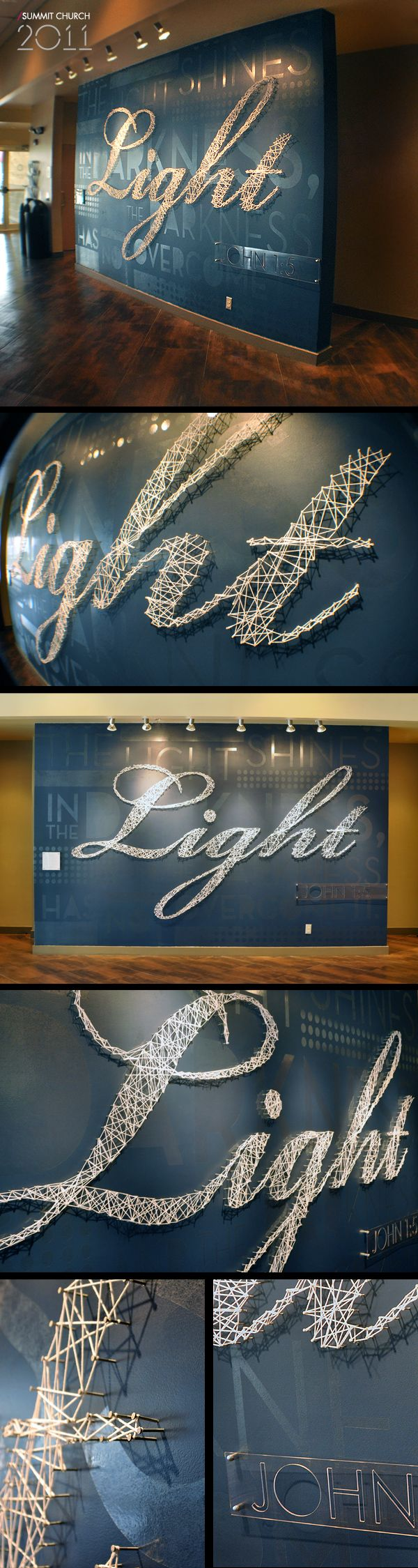 """String wrapped on pins to create typography 