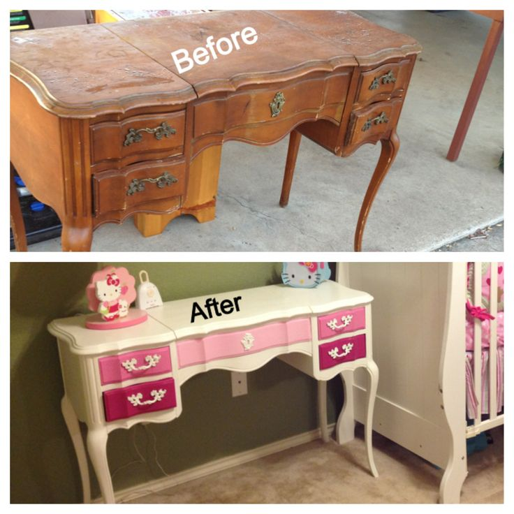 DIY nursery furniture. Old wooden vanity found cheap at flea market repainted. I used easy liquid sander deglosser first and then painted over it.
