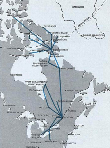 Nordair route map 1973