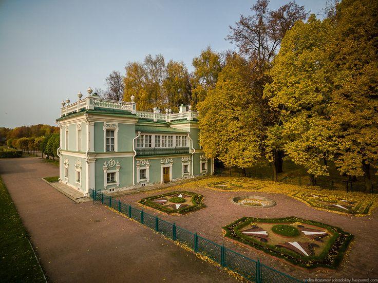 Усадьба Кусково осенью, с квадрокоптера, г. Москва