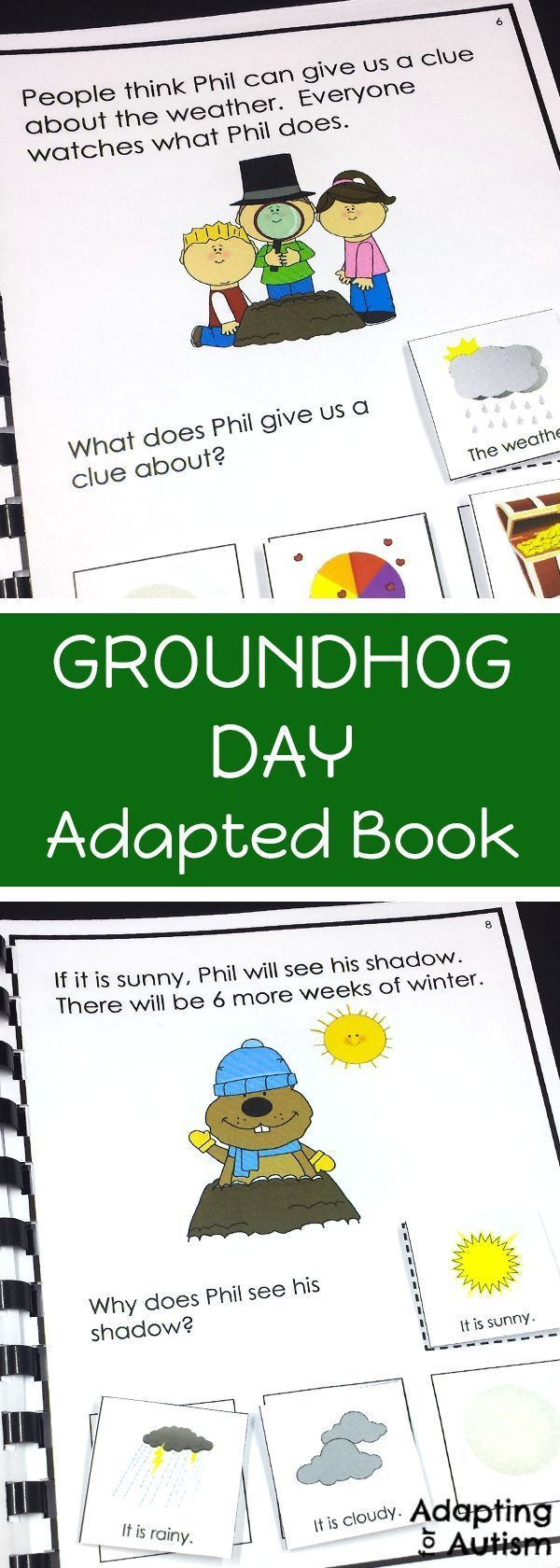 Groundhog Day Adapted Book Perfect For Special Education And Speech Therapy To Work On Reading Comprehe Adapted Books Special Education Reading Groundhog Day [ 1680 x 600 Pixel ]