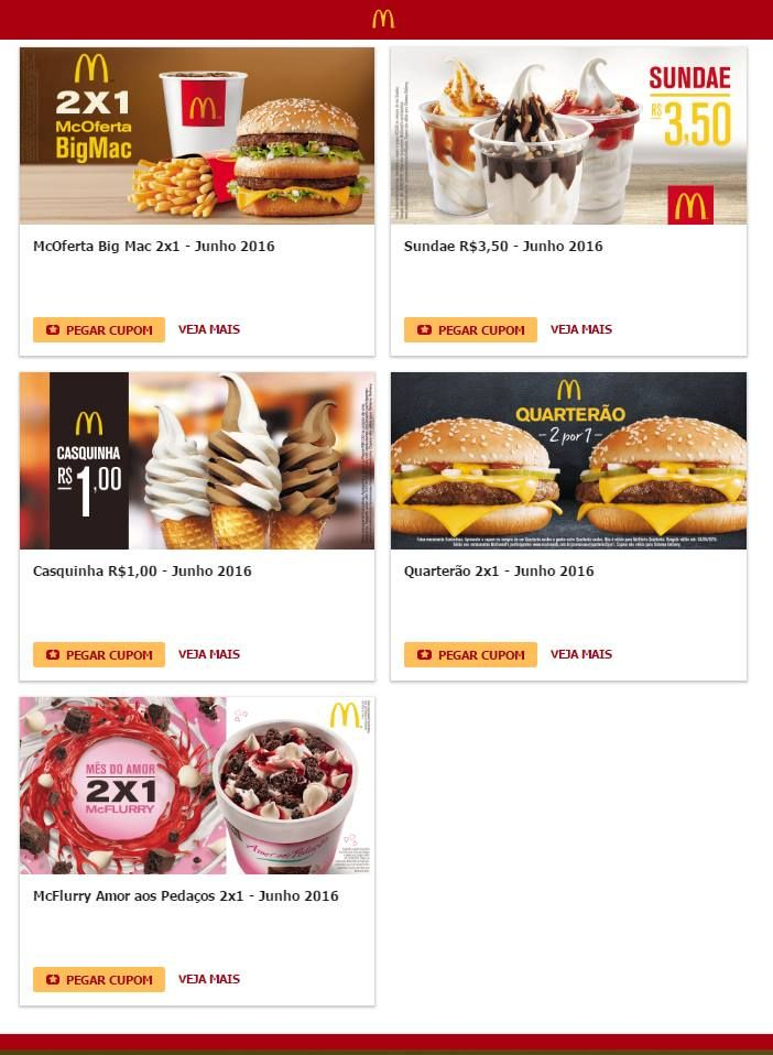 Cupons de Desconto do McDonalds