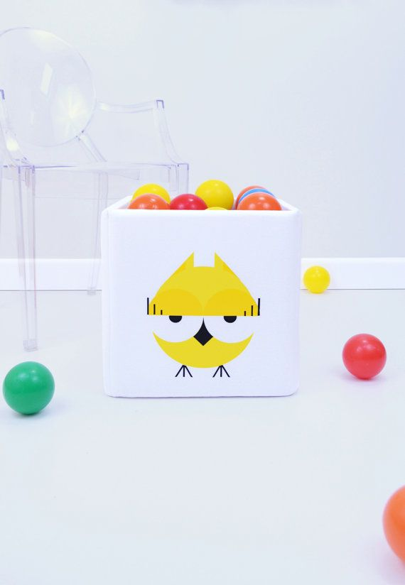 Cute toy storage & organization to kids room  Yellow OWL