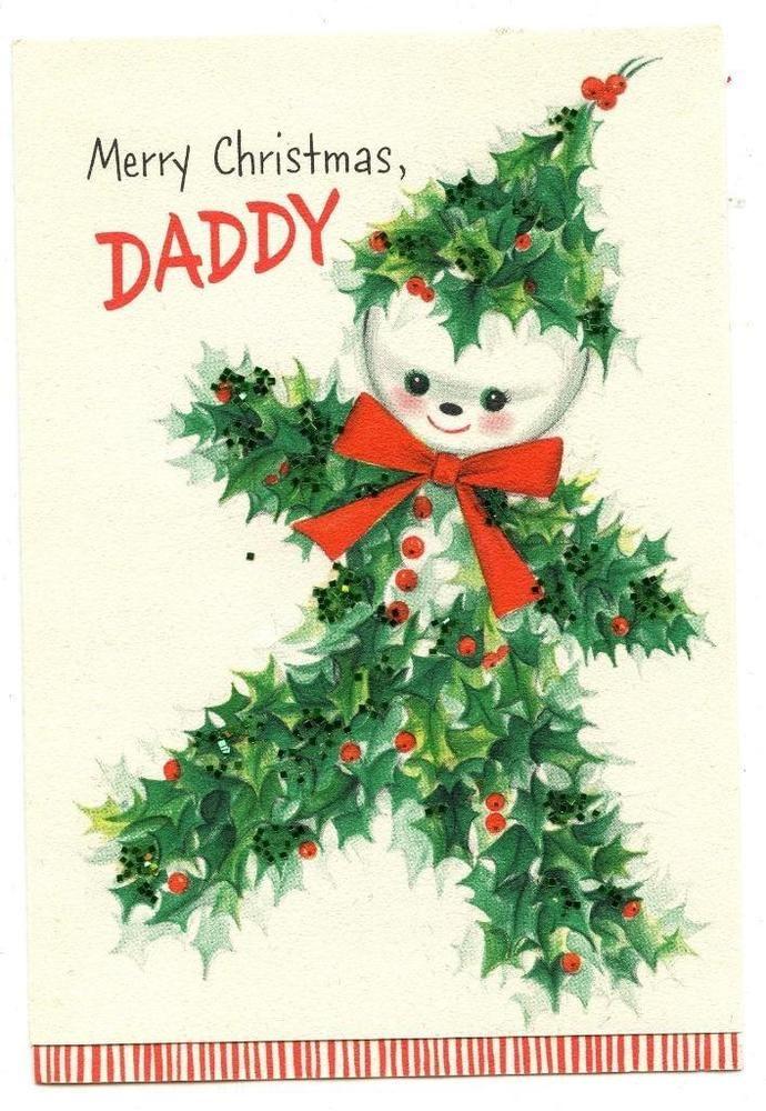 vintage 1950\'s HALLMARK Glitter HOLLY SNOWMAN Child\'s Christmas CARD ...