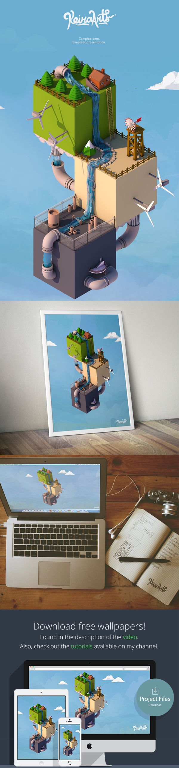 Low poly world - Isometric by Kiril Climson, via Behance