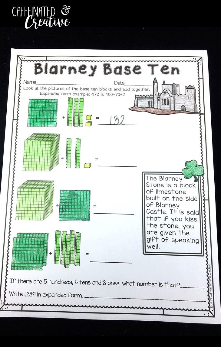 2491 best math ideas images on pinterest second grade grade 2 blarney base ten is a quick assessment for base ten blocks and showing expanded form falaconquin