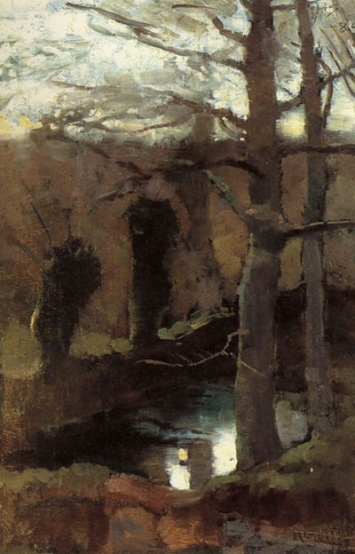 at the pond (the willows) 1883 oil on canvas 32.6x21.8cm,Helene Schjerfbeck