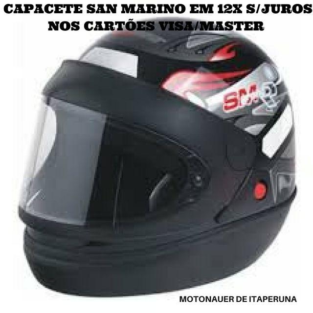 MOTONAUER  (22) 38243354: CAPACETE SAN MARINO EM 12X S/JUROS NOS CARTÕES VIS...