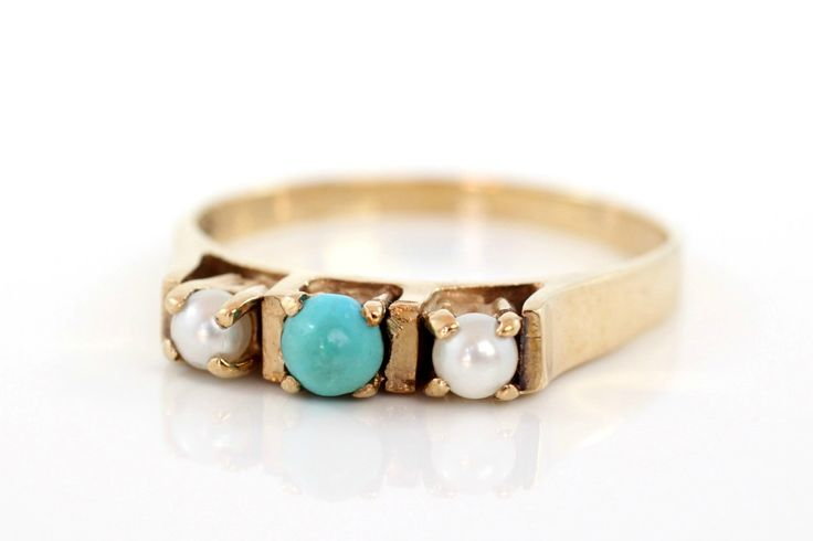 Turquoise Pearl Ring, Turquoise Ring, Seed Pearl Ring, Vintage Turquoise Gold Ring, Turquoise Jewellery, Vintage Pearl Ring, Engagement Ring by CooperStreetVintage on Etsy https://www.etsy.com/listing/463741946/turquoise-pearl-ring-turquoise-ring-seed
