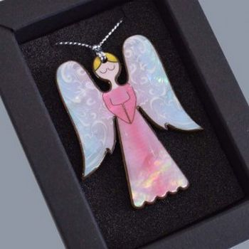 New Zealand Mother of Pearl Pastel Angel Christmas Decoration - http://www.silverfernz.com/3388-mother-of-pearl-pastel-angel-christmas-decoration.htm