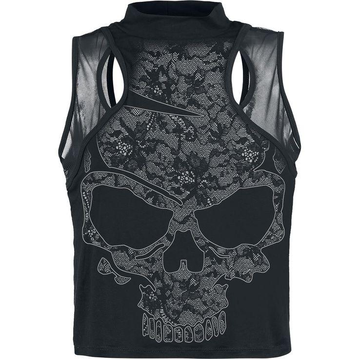 Sleeveless turtleneck, Lace Skull, Alchemy England - SwedenRockShop, 299 (349) SEK