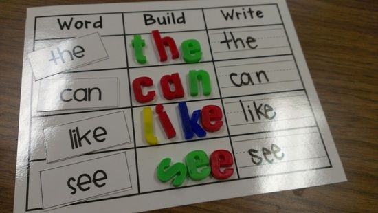 kindergarten work centers | Kindergarten Reading Centers / Word, Build, Write activity for words ...