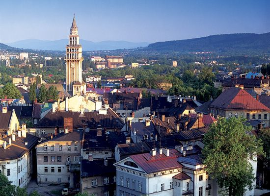 Bielsko-Biala, Poland. The church in the center is St. Nicholas where I took my 1st Communion