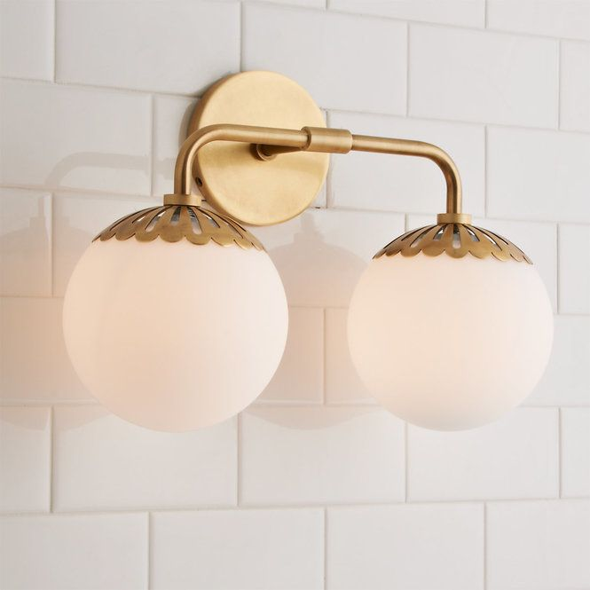 Dewdrop Globe Vanity Light 2 Light Vanity Lighting Brass