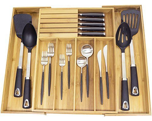 Misc Home Expandable Bamboo Kitchen Organizer With Knife