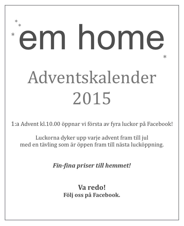Adventskalender på Facebook!