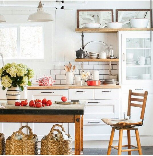love this kitchen subway tile ikea cabinets countertops farmhouse sink and an antique bakery table equipped with pottery barn baskets
