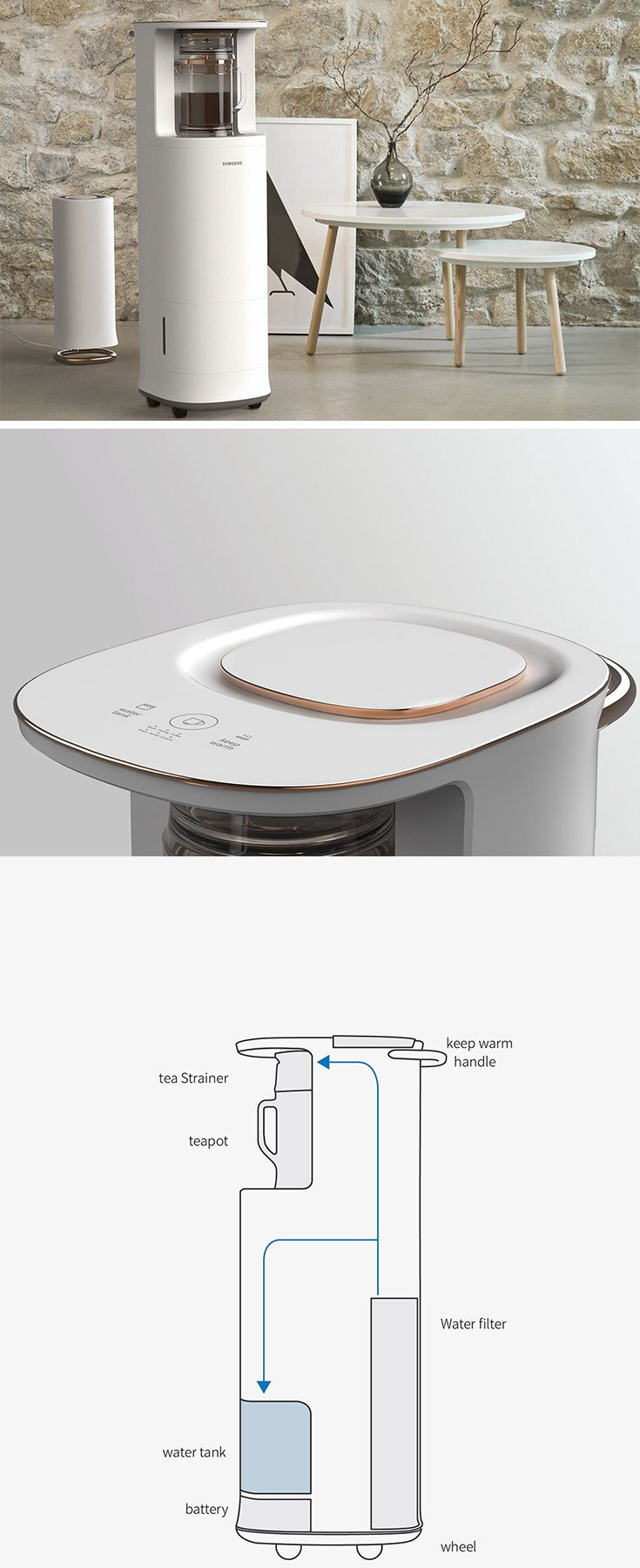 "Designed just for the Brits, ""Blendin"" is a modern twist on this age-old tradition that makes it easy to enjoy tea anytime, anywhere. Rather than take trips back and forth between the kitchen, users can move this convenient rolling system wherever they desire. With a built-in reservoir and heating system, it keeps tea fresh and piping hot."